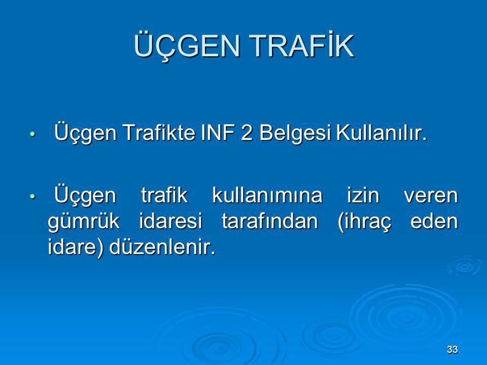ÜÇGEN TRAFİK Üçgen Trafikte INF 2 Belgesi Kullanılır.
