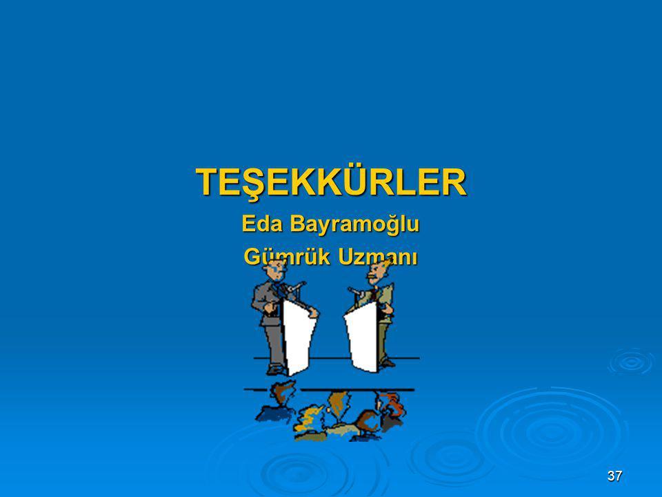 TEŞEKKÜRLER Eda Bayramoğlu Gümrük Uzmanı