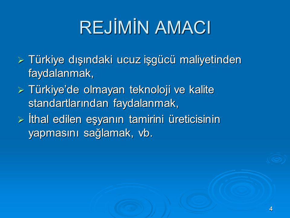 REJİMİN AMACI Türkiye dışındaki ucuz işgücü maliyetinden faydalanmak,