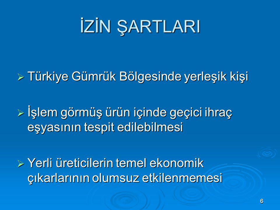 İZİN ŞARTLARI Türkiye Gümrük Bölgesinde yerleşik kişi