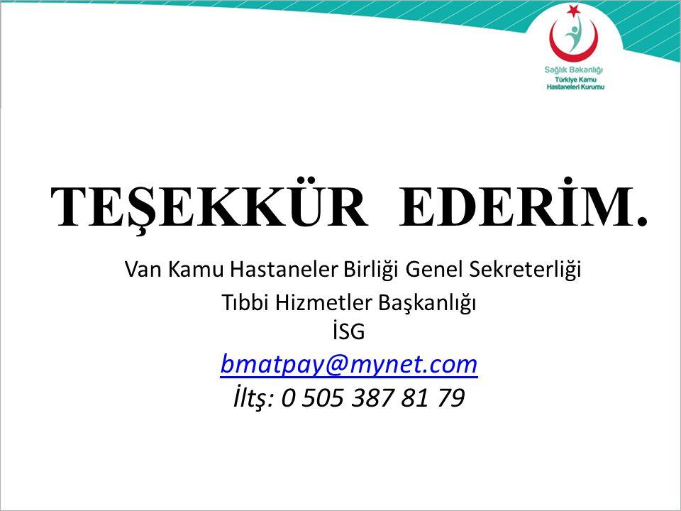 ARZ EDERİM. Van Kamu Hastaneler Birliği Genel Sekreterliği Tıbbi Hizmetler Başkanlığı İSG bmatpay@mynet.com İltş: 0 505 387 81 79