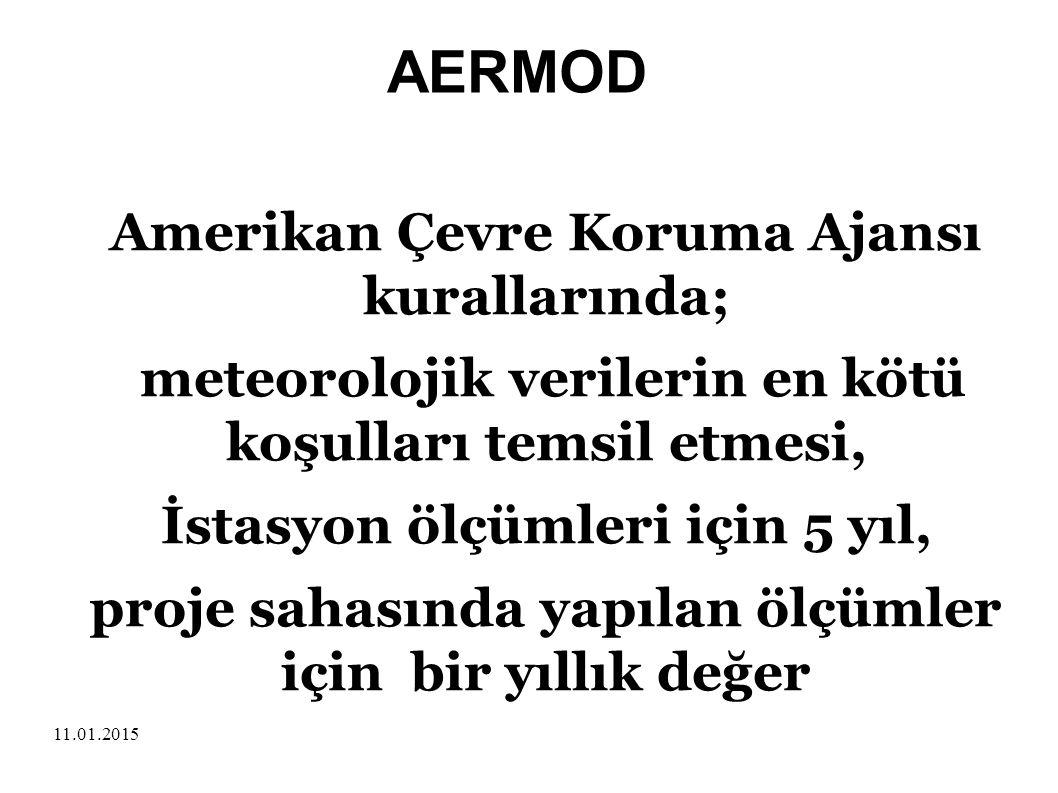 AERMOD Amerikan Çevre Koruma Ajansı kurallarında;