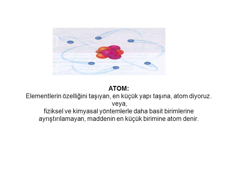 Elementlerin özelliğini taşıyan, en küçük yapı taşına, atom diyoruz.