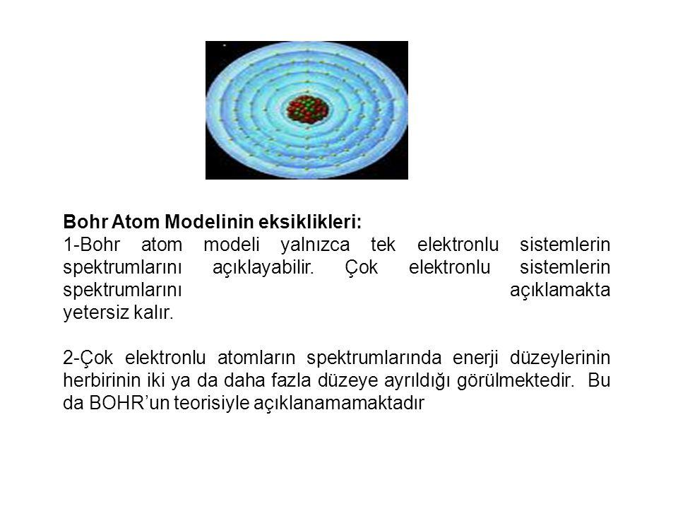 Bohr Atom Modelinin eksiklikleri:
