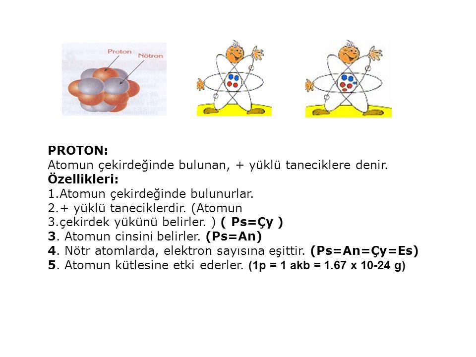 PROTON: Atomun çekirdeğinde bulunan, + yüklü taneciklere denir. Özellikleri: Atomun çekirdeğinde bulunurlar.