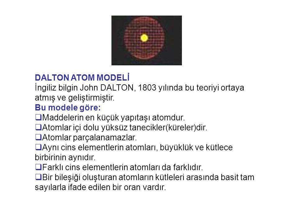 DALTON ATOM MODELİ İngiliz bilgin John DALTON, 1803 yılında bu teoriyi ortaya atmış ve geliştirmiştir.
