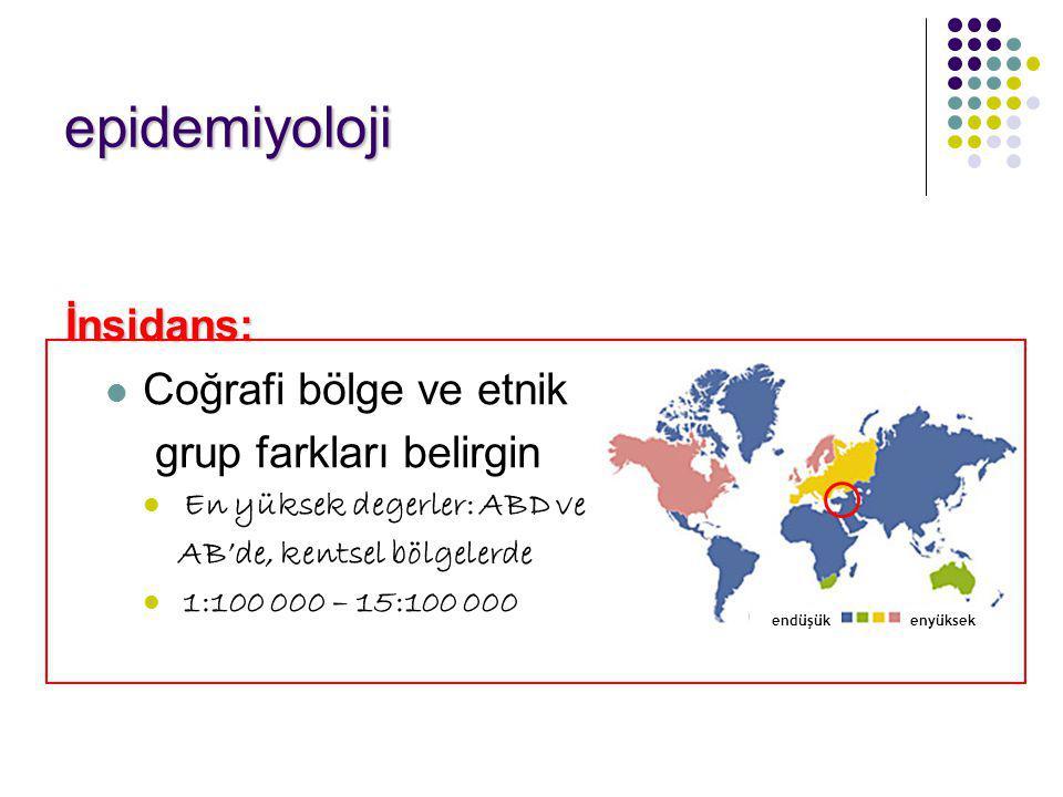epidemiyoloji İnsidans: Coğrafi bölge ve etnik grup farkları belirgin