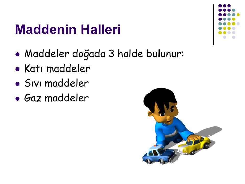 Maddenin Halleri Maddeler doğada 3 halde bulunur: Katı maddeler