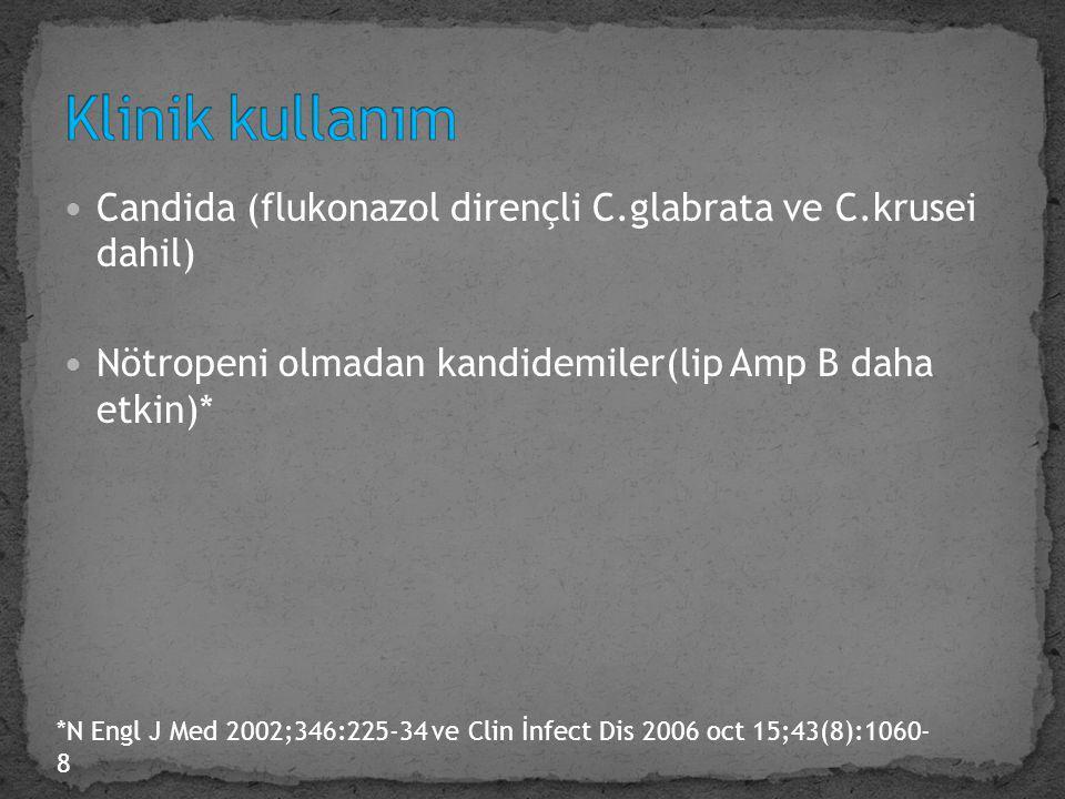 Klinik kullanım Candida (flukonazol dirençli C.glabrata ve C.krusei dahil) Nötropeni olmadan kandidemiler(lip Amp B daha etkin)*