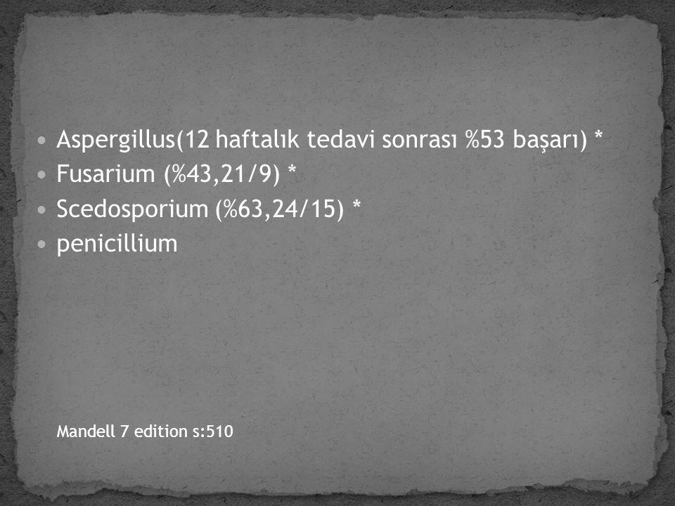 Aspergillus(12 haftalık tedavi sonrası %53 başarı) *