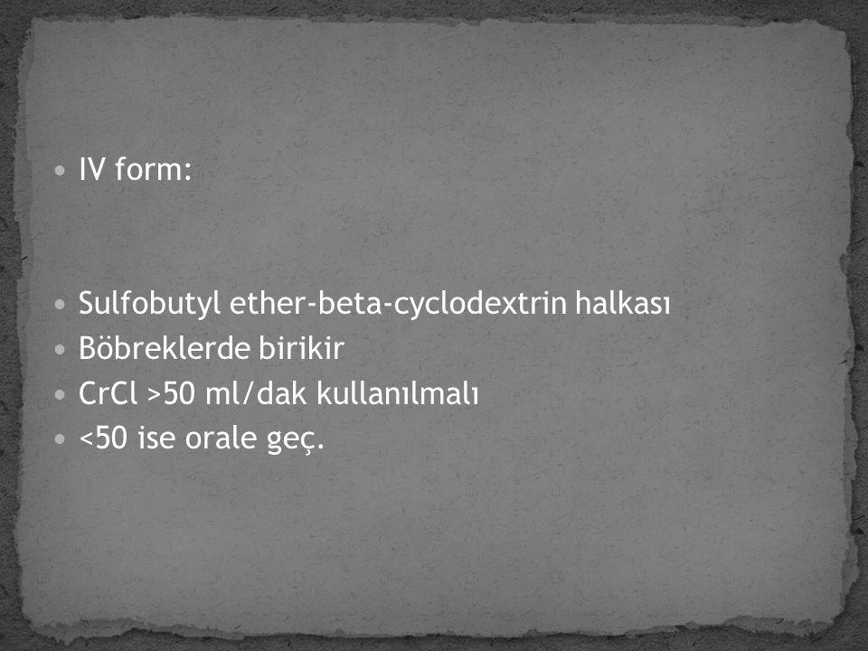 IV form: Sulfobutyl ether-beta-cyclodextrin halkası. Böbreklerde birikir. CrCl >50 ml/dak kullanılmalı.