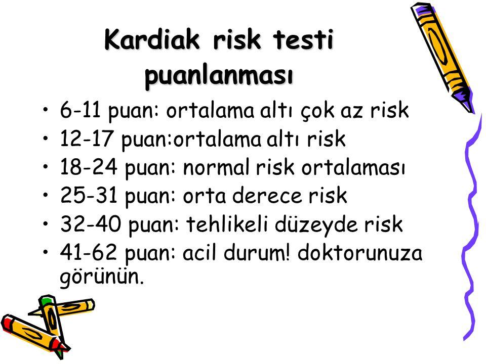 Kardiak risk testi puanlanması