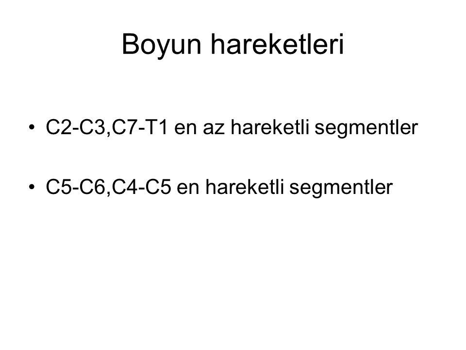 Boyun hareketleri C2-C3,C7-T1 en az hareketli segmentler
