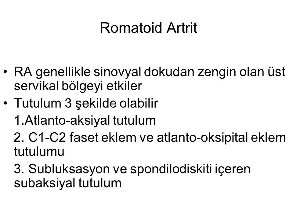 Romatoid Artrit RA genellikle sinovyal dokudan zengin olan üst servikal bölgeyi etkiler. Tutulum 3 şekilde olabilir.