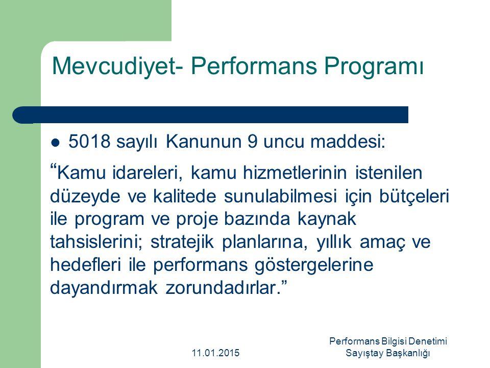 Mevcudiyet- Performans Programı