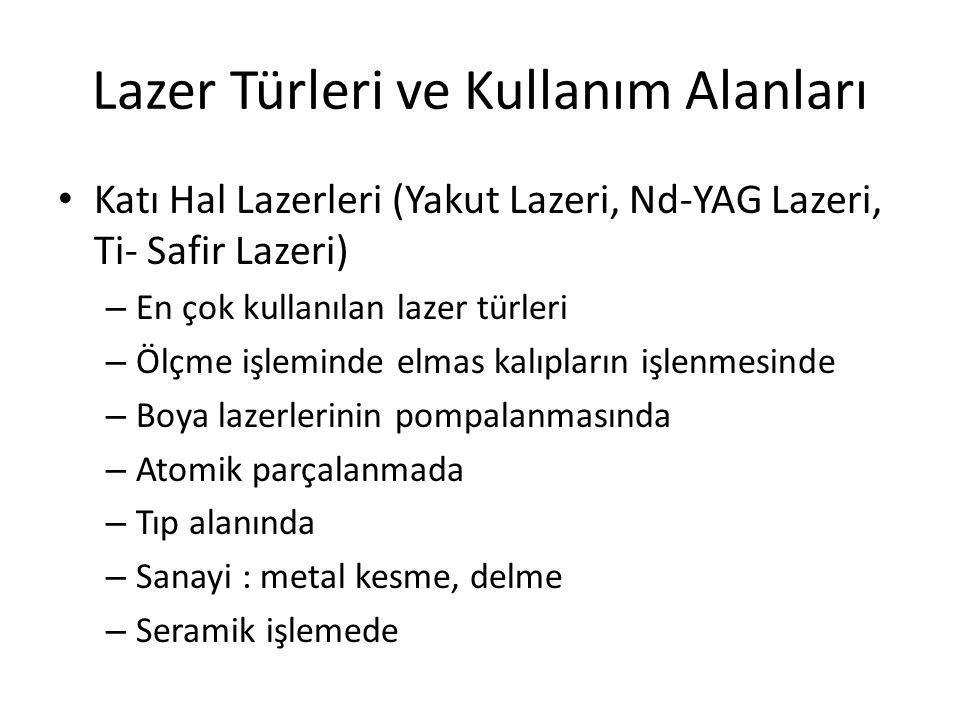 Lazer Türleri ve Kullanım Alanları
