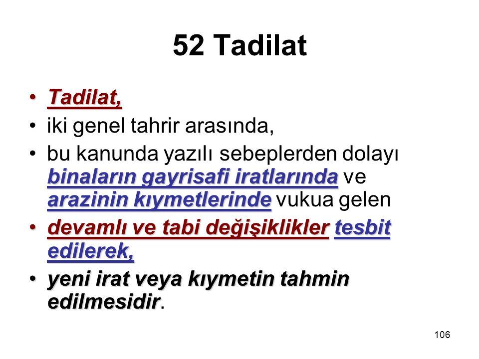 52 Tadilat Tadilat, iki genel tahrir arasında,