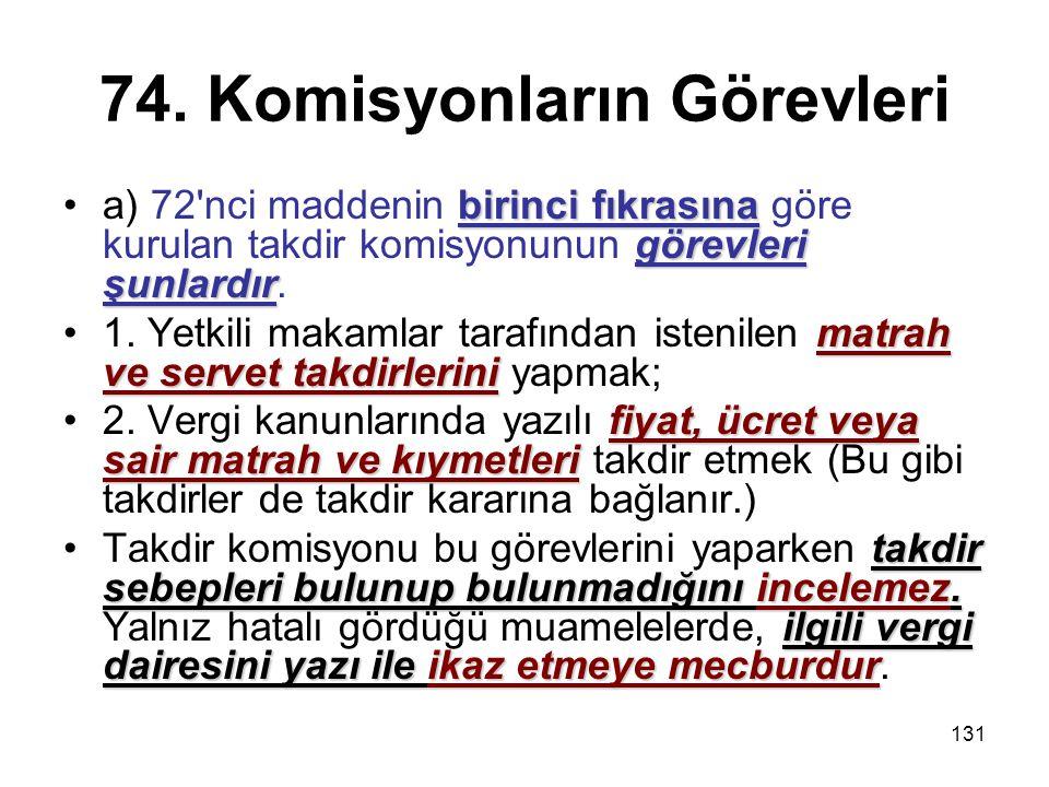 74. Komisyonların Görevleri