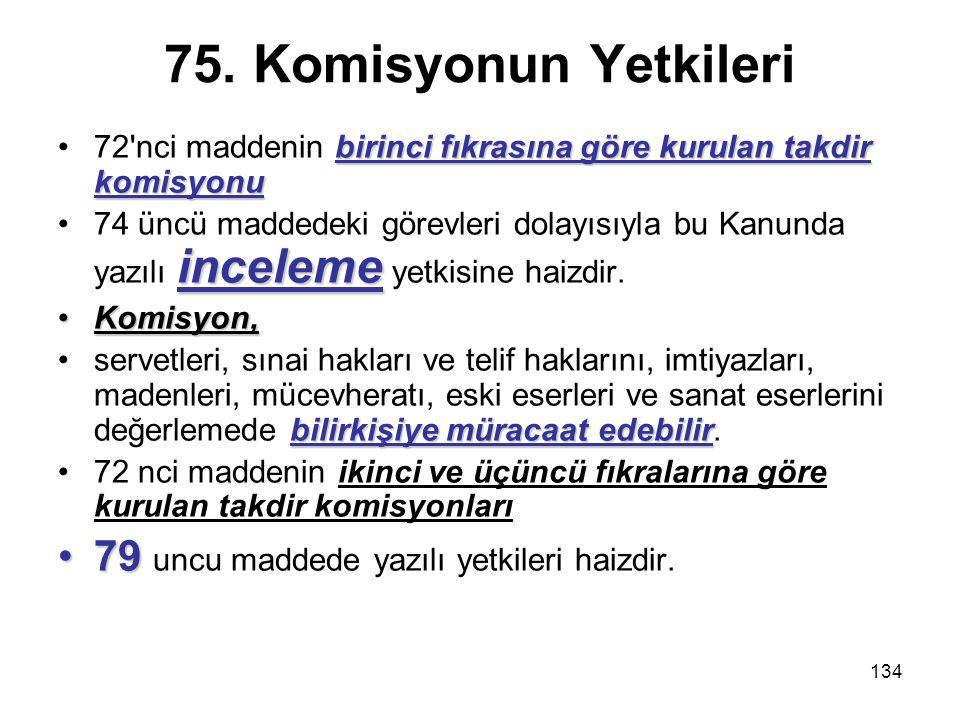 75. Komisyonun Yetkileri 79 uncu maddede yazılı yetkileri haizdir.