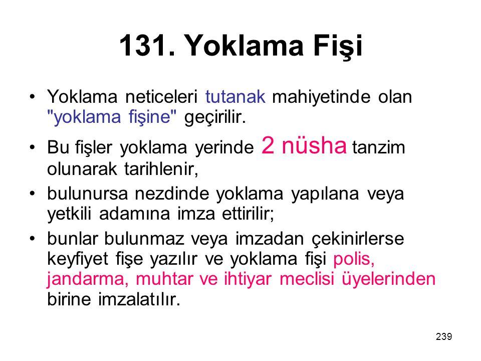 131. Yoklama Fişi Yoklama neticeleri tutanak mahiyetinde olan yoklama fişine geçirilir.