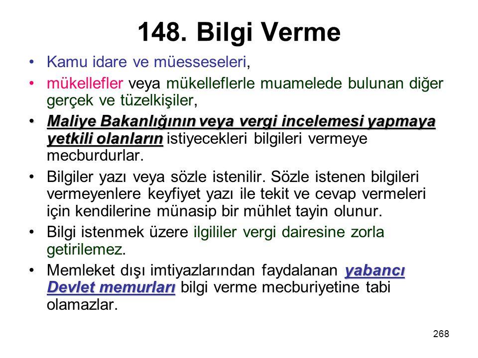 148. Bilgi Verme Kamu idare ve müesseseleri,