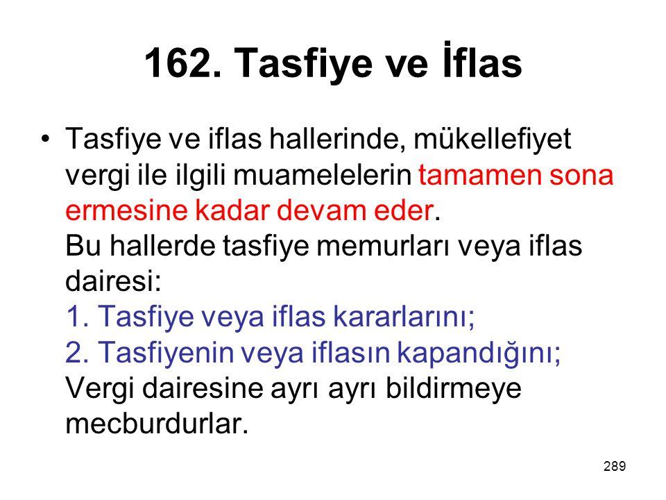 162. Tasfiye ve İflas