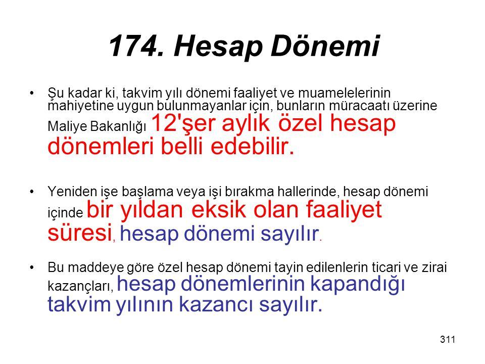 174. Hesap Dönemi