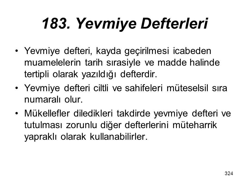 183. Yevmiye Defterleri