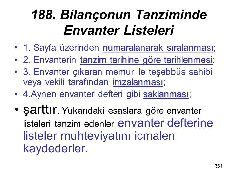 188. Bilançonun Tanziminde Envanter Listeleri