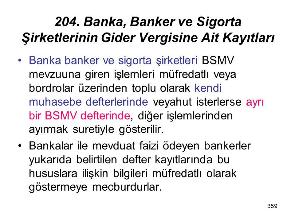 204. Banka, Banker ve Sigorta Şirketlerinin Gider Vergisine Ait Kayıtları