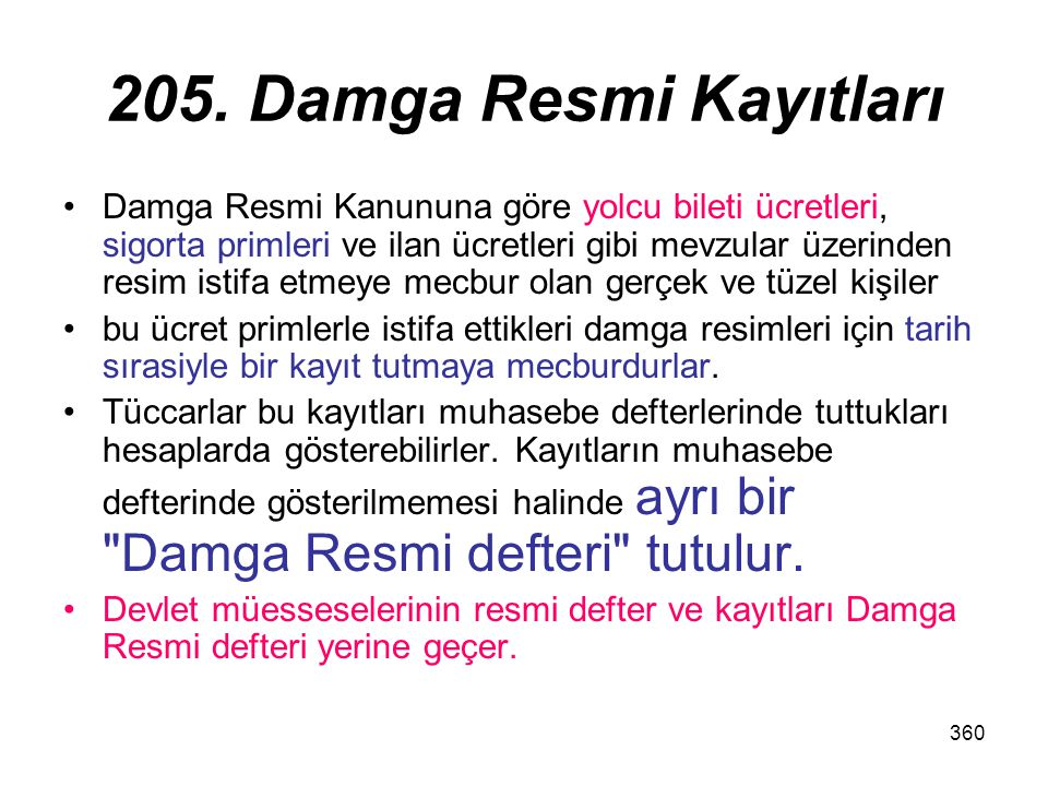 205. Damga Resmi Kayıtları