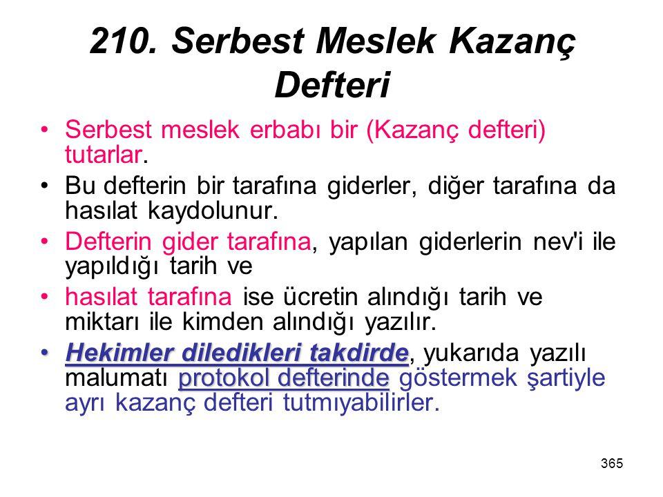 210. Serbest Meslek Kazanç Defteri