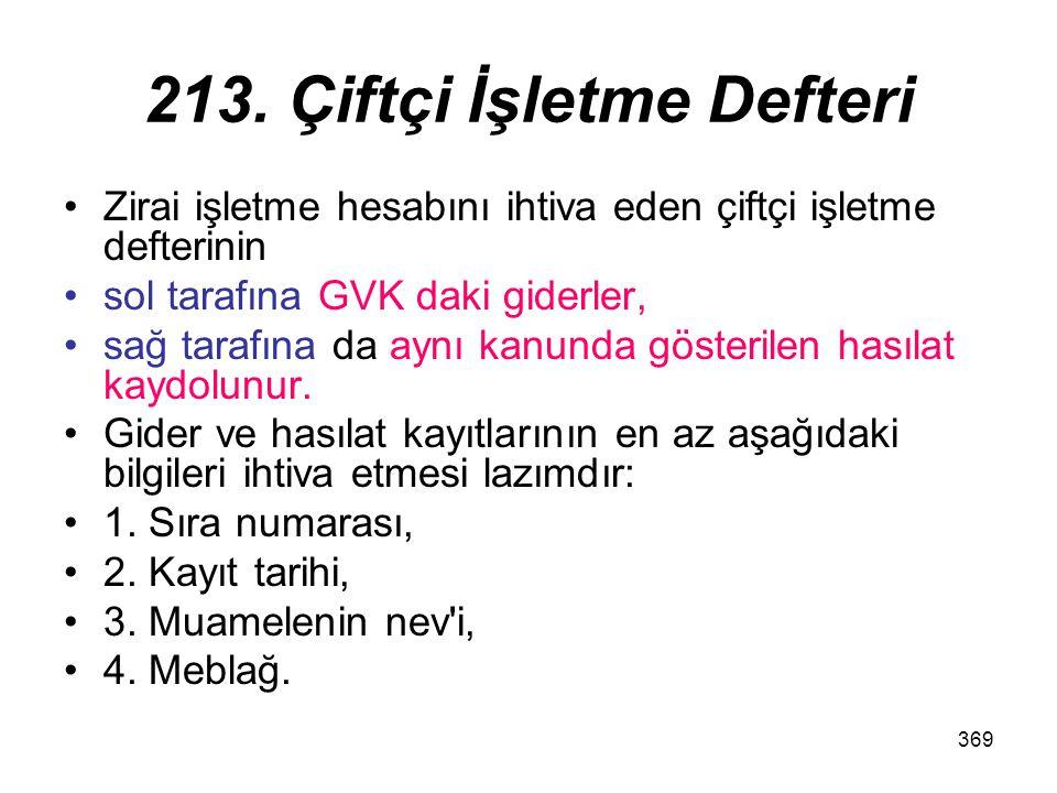 213. Çiftçi İşletme Defteri