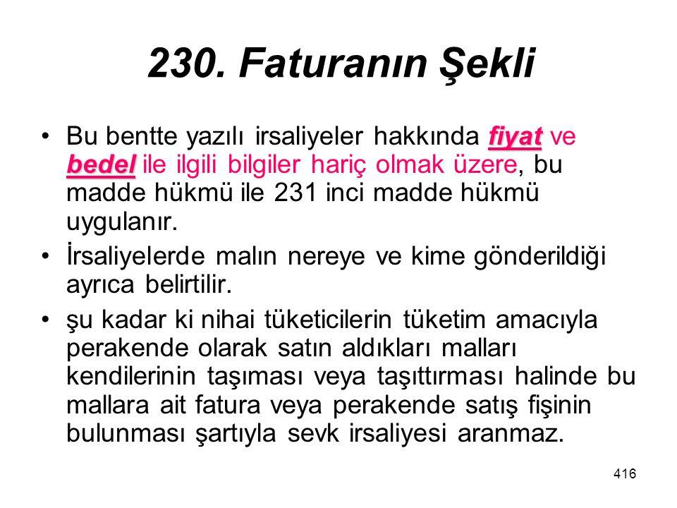 230. Faturanın Şekli