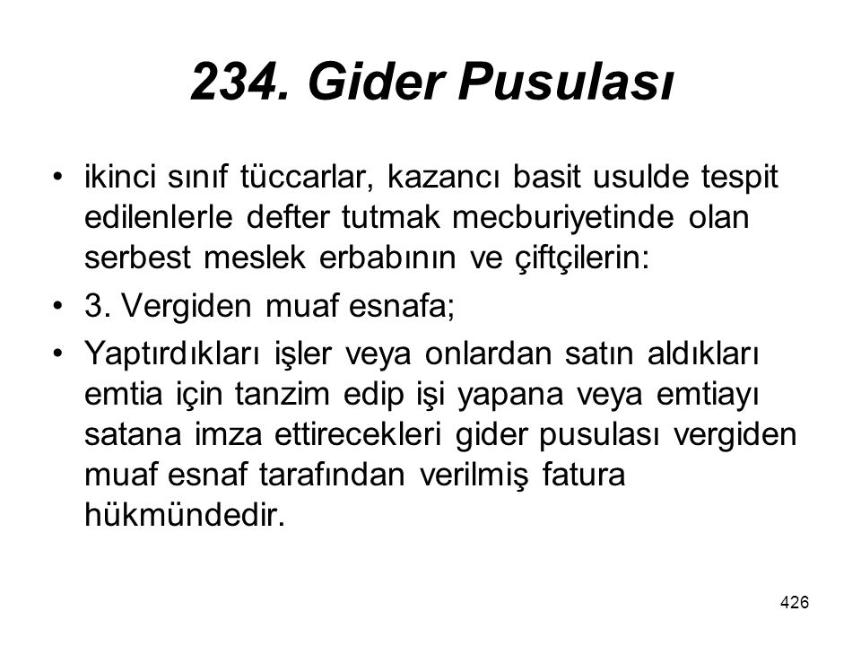 234. Gider Pusulası