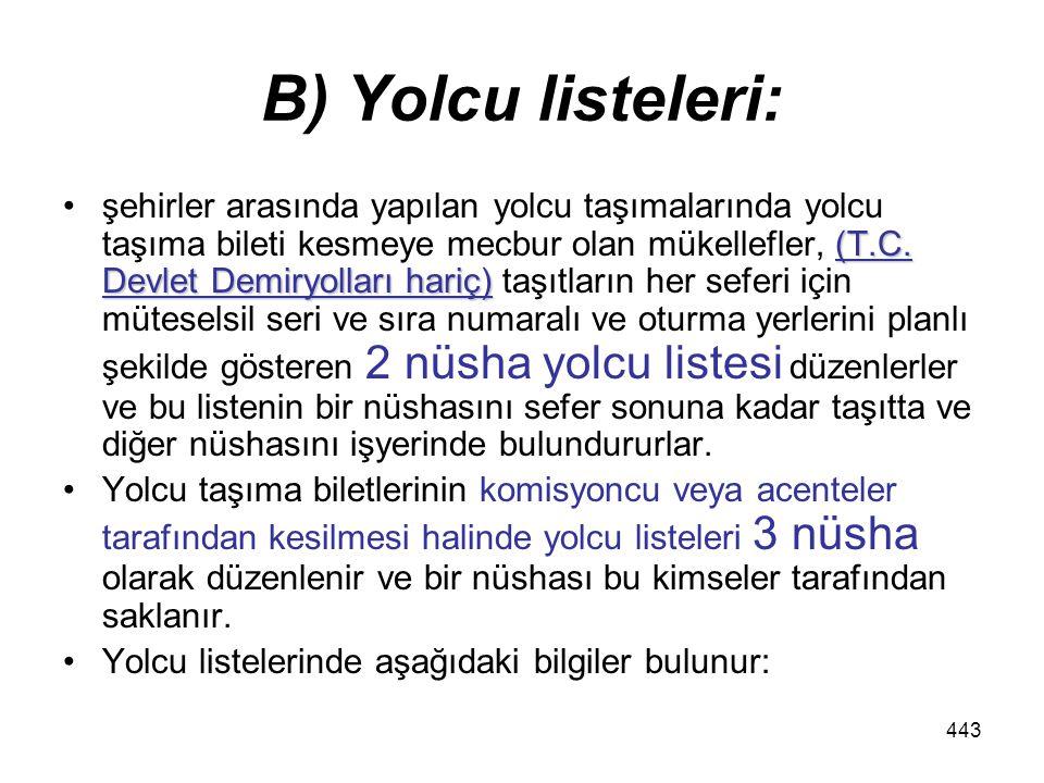 B) Yolcu listeleri: