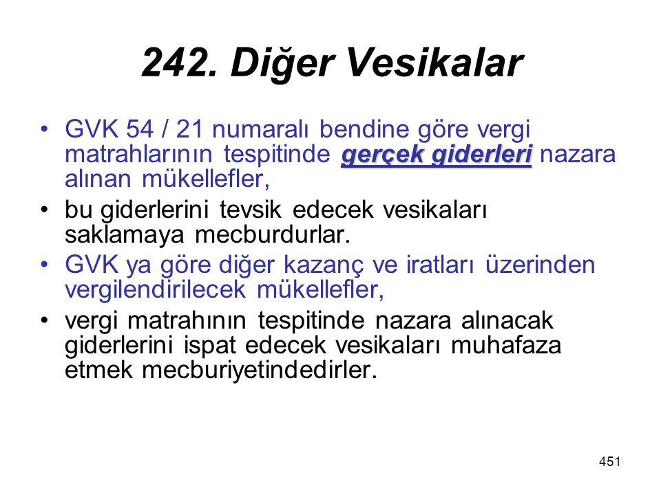 242. Diğer Vesikalar GVK 54 / 21 numaralı bendine göre vergi matrahlarının tespitinde gerçek giderleri nazara alınan mükellefler,