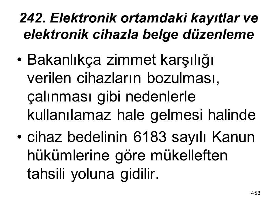 242. Elektronik ortamdaki kayıtlar ve elektronik cihazla belge düzenleme