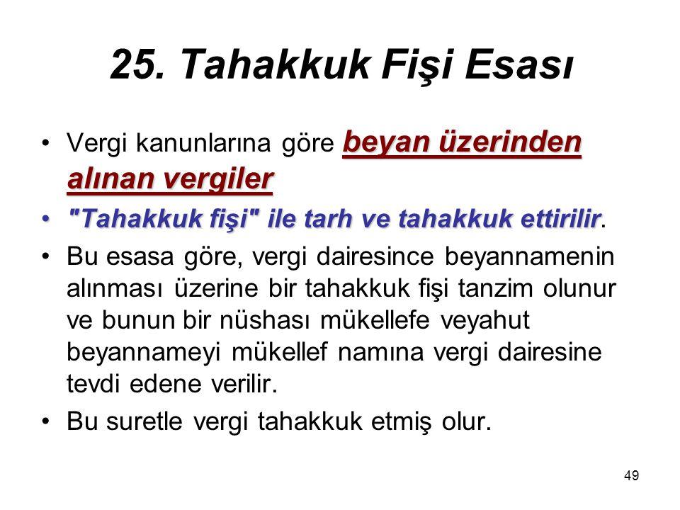 25. Tahakkuk Fişi Esası Vergi kanunlarına göre beyan üzerinden alınan vergiler. Tahakkuk fişi ile tarh ve tahakkuk ettirilir.