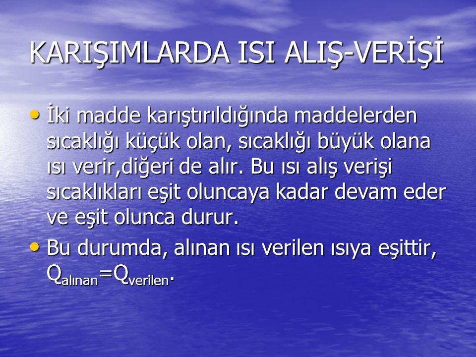 KARIŞIMLARDA ISI ALIŞ-VERİŞİ