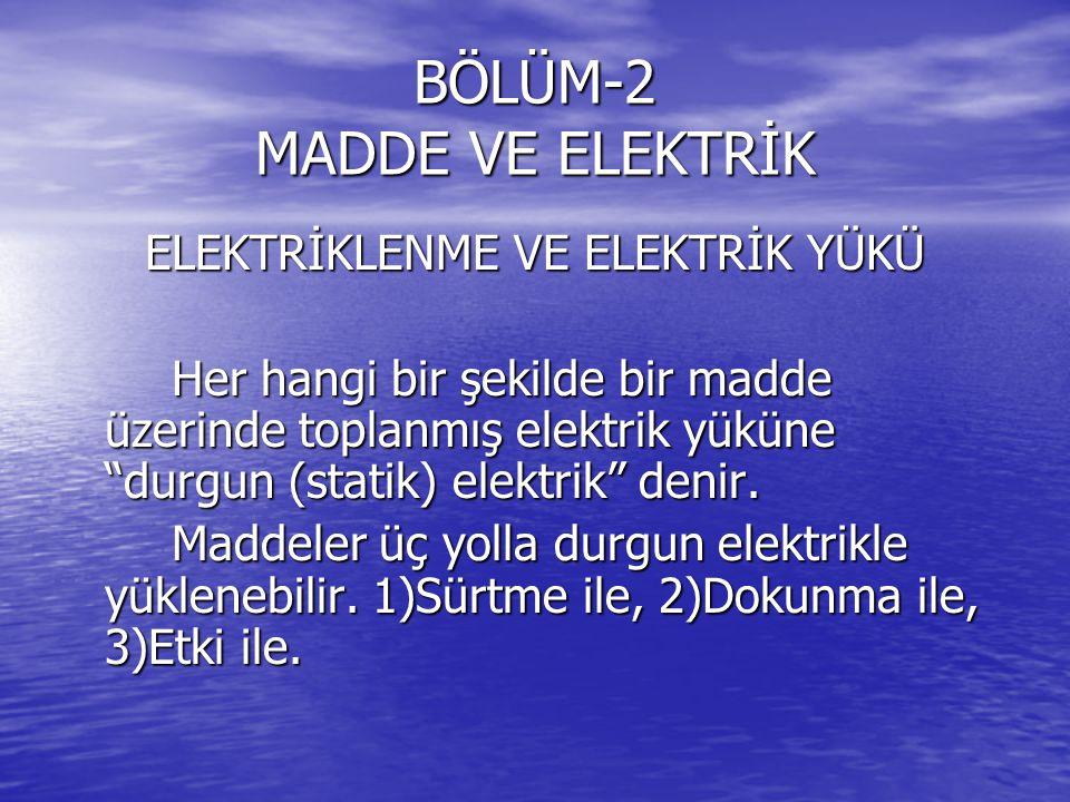 BÖLÜM-2 MADDE VE ELEKTRİK