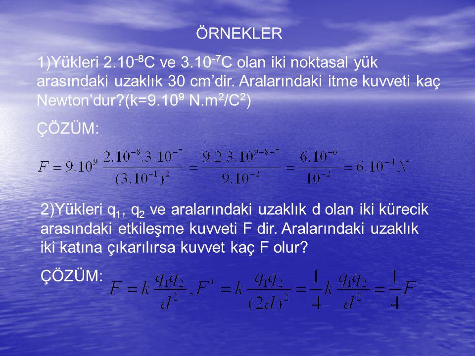 ÖRNEKLER 1)Yükleri 2.10-8C ve 3.10-7C olan iki noktasal yük arasındaki uzaklık 30 cm'dir. Aralarındaki itme kuvveti kaç Newton'dur (k=9.109 N.m2/C2)