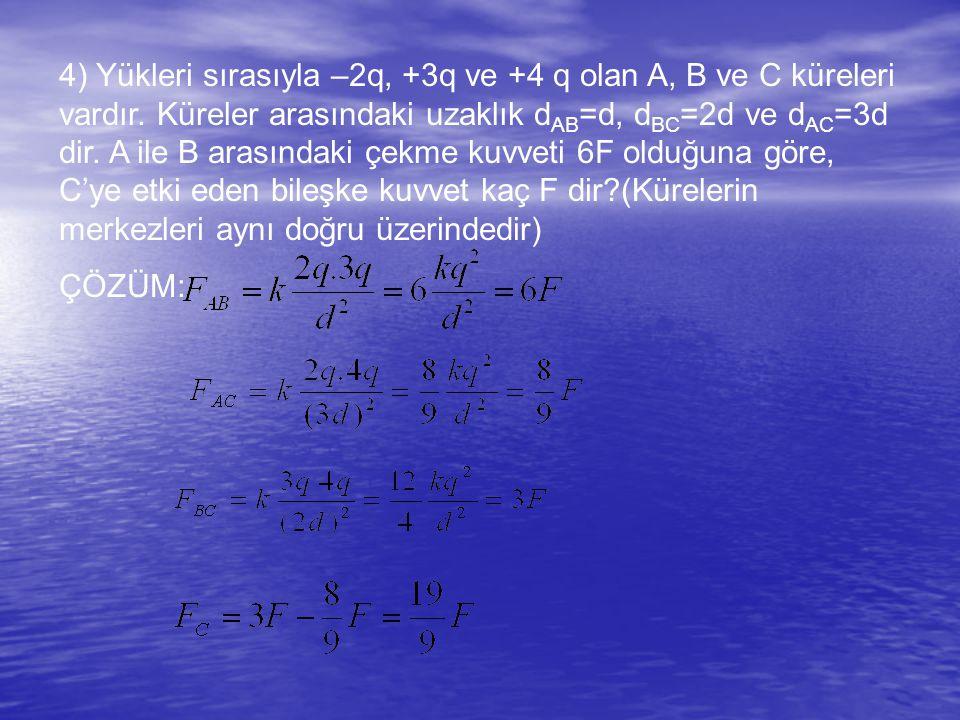 4) Yükleri sırasıyla –2q, +3q ve +4 q olan A, B ve C küreleri vardır