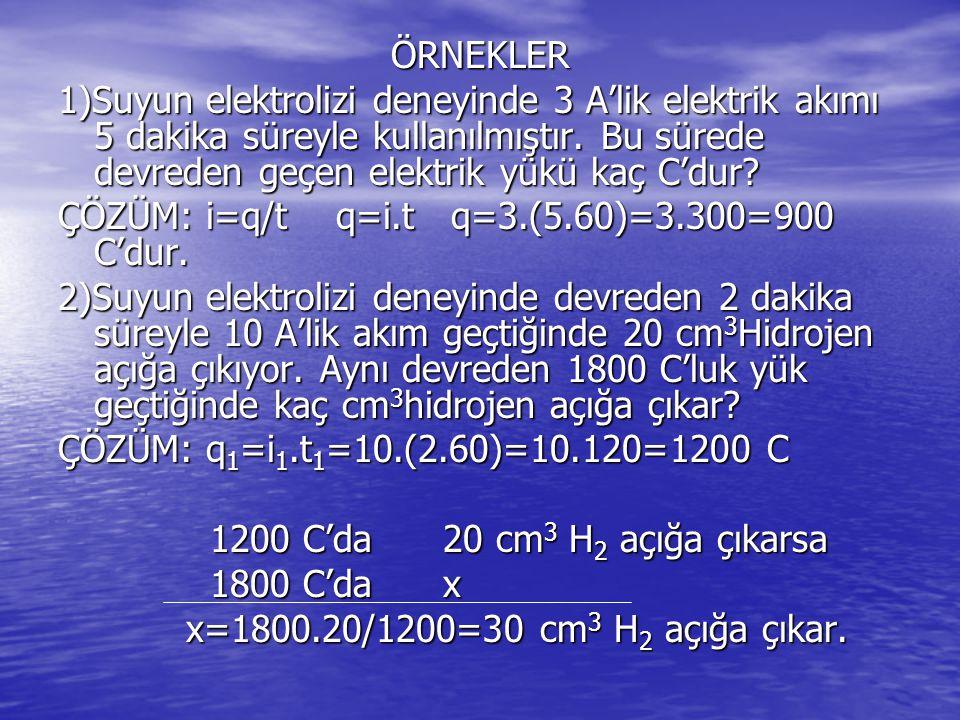 ÖRNEKLER 1)Suyun elektrolizi deneyinde 3 A'lik elektrik akımı 5 dakika süreyle kullanılmıştır. Bu sürede devreden geçen elektrik yükü kaç C'dur