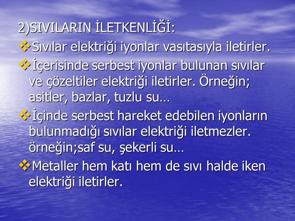 2)SIVILARIN İLETKENLİĞİ: