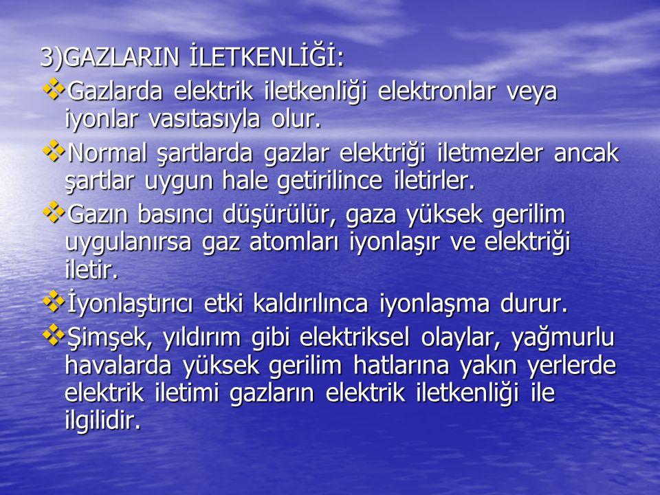 3)GAZLARIN İLETKENLİĞİ: