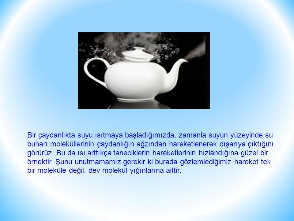 Bir çaydanlıkta suyu ısıtmaya başladığımızda, zamanla suyun yüzeyinde su buharı moleküllerinin çaydanlığın ağzından hareketlenerek dışarıya çıktığını görürüz.