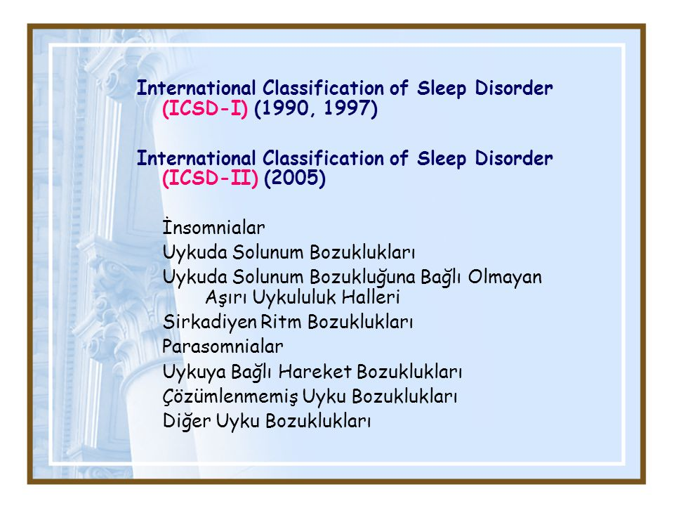 International Classification of Sleep Disorder (ICSD-I) (1990, 1997)