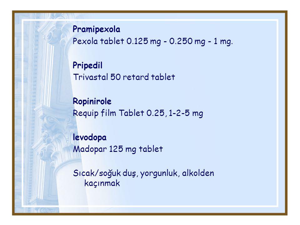 Pramipexola Pexola tablet 0.125 mg - 0.250 mg - 1 mg. Pripedil. Trivastal 50 retard tablet. Ropinirole.