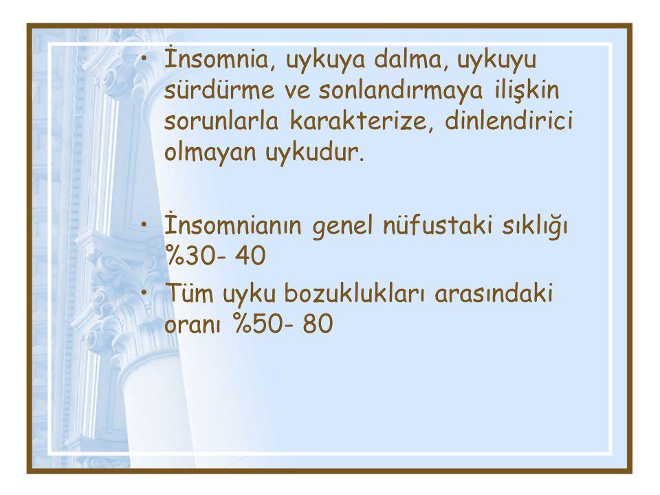 İnsomnia, uykuya dalma, uykuyu sürdürme ve sonlandırmaya ilişkin sorunlarla karakterize, dinlendirici olmayan uykudur.